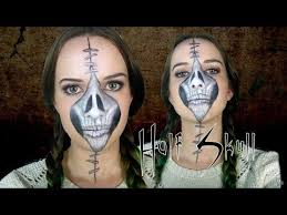 face skull finished 1 half stapled skull day of the dead makeup tutorial you
