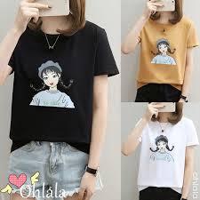 <b>Women's Round Neck Cartoon</b> Print Short Sleeve T-Shirt | Shopee ...