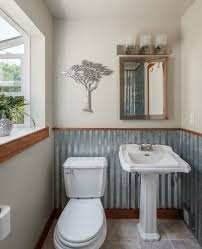 not just bathrooms you can make use of corrugated sheet metal to clad or decorate
