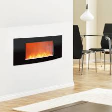 cambridge callisto 35 in wall mount electronic fireplace with curved panel in black
