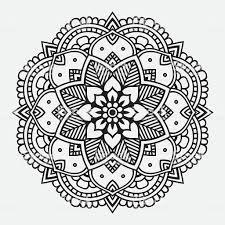 シンプルなブラックの花柄オリエント曼荼羅 イラストレーションの