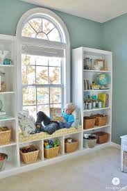 diy built in bookshelves window seat