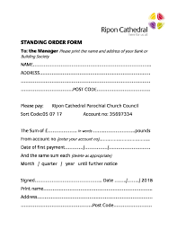 Standing Order Form Ripon Ripon Cathedral