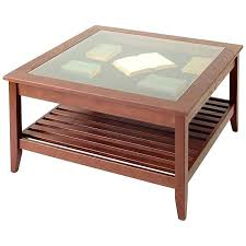 glass top end table display square coffee round with wood base
