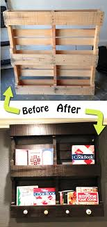 DIY Cook book shelf ~ using pallet. This is my next project, my cookbooks  need to be seen! Love the knobs at the bottom, could hang my apron and kids  ...