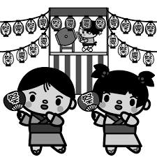 祭り イラスト 白黒 ギャラリーイラスト
