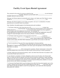 sample rental agreement letter free facility event space rental agreement template pdf word