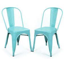 adeco blue metal stackable industrial chic dining chair outdoor and indoor set of two