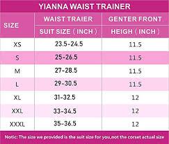 Yianna Waist Trainer Size Chart Yianna Womens Zipper Hook Hourglass Latex Waist Training