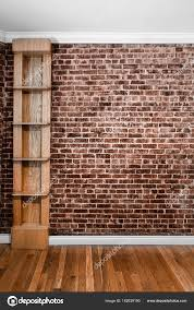 flat brick wall perspective and shelves stock photo