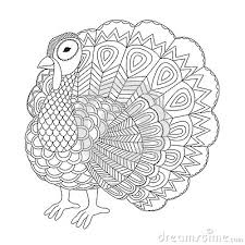 Detailed Zentangle Turkey For Coloring Page For Adult