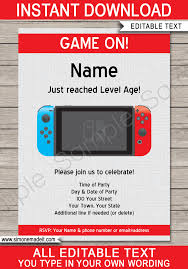 Nintendo Switch Party Invitations Template