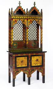 Victorian Gothic revival tall cabinet, England, c.1870-1880. Museum no.  W.24-1972