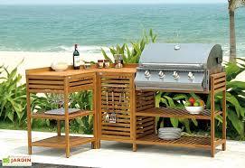 Petite Cuisine Dextérieure En Bois Lea Barbecue Gaz Inox 4 Feux