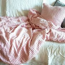 pure luxury linen lin de luxe soft pink white striped duvet cover from stone washed double
