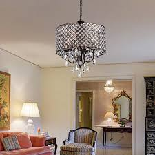 marya 4 light antique copper round drum crystal chandelier ceiling fixture