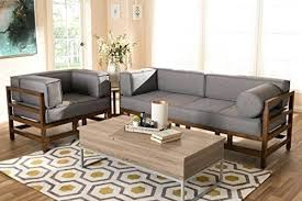 studio living room furniture. Amazing 2 Piece Living Room Furniture Set Studio Mid Century Modern Grey Fabric Upholstered Walnut Wood Sofa Ideas D