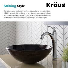 kraus copper brown glass bathroom vessel sink and riviera 8482 faucet combo set with