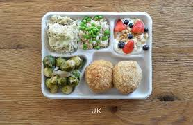 on those food around the world photo essays muesli fruit brussel sprouts rice and peas some coleslaw thing some