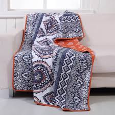 Amazon.com: Boho Chic Moroccan Paisley Pattern Grey Orange Cotton ... & Amazon.com: Boho Chic Moroccan Paisley Pattern Grey Orange Cotton Quilt  Throw Blanket - Includes Bed Sheet Straps: Home & Kitchen Adamdwight.com