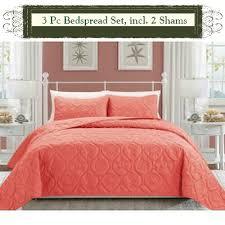 cotton quilts queen size. Unique Quilts Coral ColorLuxury Queen Size 3piece Cotton Quilt Bedspread Set Puff  Design And Quilts P