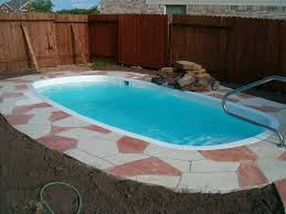 Swimming Pool:Pleasant Small Pool Designs With Red Iron Pool Border And  Chrome Handrail Plus