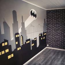 Bedroom with Gotham City mural and brick wallpaper for the Batman-fan!  Super Hero