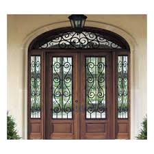 wooden glass with rout iron security door