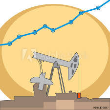 Oil Rig With Grows Chart Vector Flat Illustrations Buy