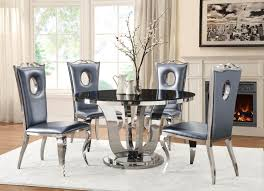 blasio glam five piece dining set with round table and leather chairs chrome and black