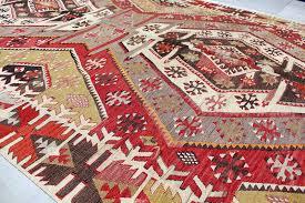 vintage handmade turkish anatolian kayseri double wings kilim rug runner 0003