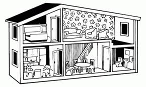 Small Picture Dollhouse Free Printable Coloring Pages