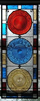custom made stained glass vintage plates window panel primary colors