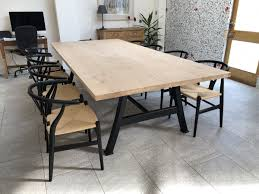 Industrial Based Dining Tables From Recycled Steel And Iron With Oak