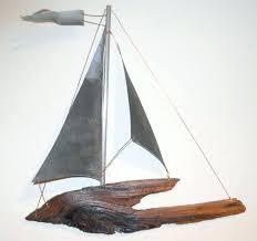 driftwood sailboat wall art