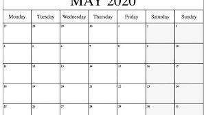Template For 2020 Calendar May 2020 Calendar Pdf Word Excel Printable Template