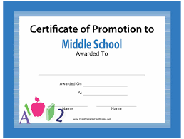 certificate of promotion template middle school certificate of promotion template download printable