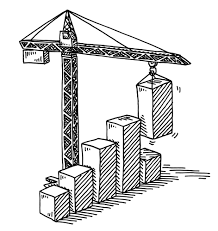Hand drawn vector drawing of a construction site with a tower crane and a bar chart success concept black and white sketch on a transparent background