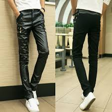 straight jogger pants real slim mens leather pants faux for men 2018 splicing tight low