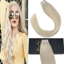 Sunny Hair Design Sunny 14inch Tape In Hair Extensions Blonde Color 60 Platinm Blonde Glue In Extensions Remy Straight Hair 20pc 50g Per Package
