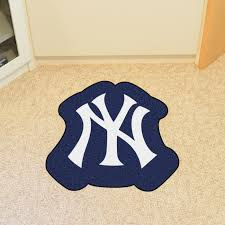 now there s a fan mat cut in the shape of your favorite team s mascot the new york yankees mascot mat is a great area rug for the dorm room kid s bedroom