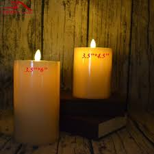 2 pcs luminara wax candle flameless led ivory pillar candle flat top for hotel restaurant table