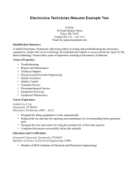 resume examples sample resume electronics technician sample of electrical engineering resume examples sample of electronics technician resume qualification summary as skilled technician and areas