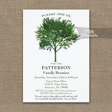 Printable Family Reunion Invitations Green Tree Family Reunion Invitation Printed Nifty