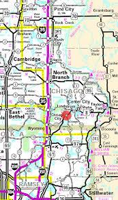 minnesota state highway map of the chisago city minnesota area