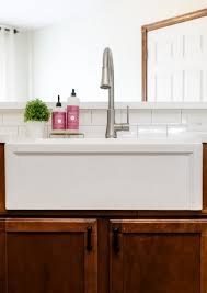 fireclay sink reviews. Contemporary Fireclay A White Apron Front Fireclay Farmhouse Sink With A Brushed Nickel Pull Down  Faucet With Fireclay Sink Reviews