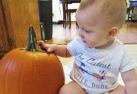 pumpkin decorating with a toddler