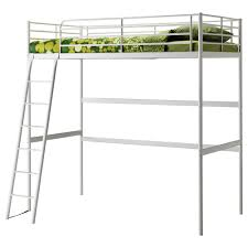 minimalist boys bedroom furnishings using metal ikea loft bed framed with ladder and green fabric cover mattress in small space