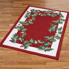 holly border rug red