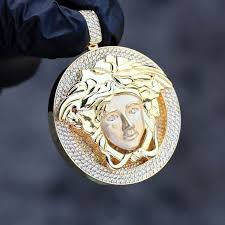 10k yellow gold finish 2 00ct diamond iced out versace style medusa head pendant